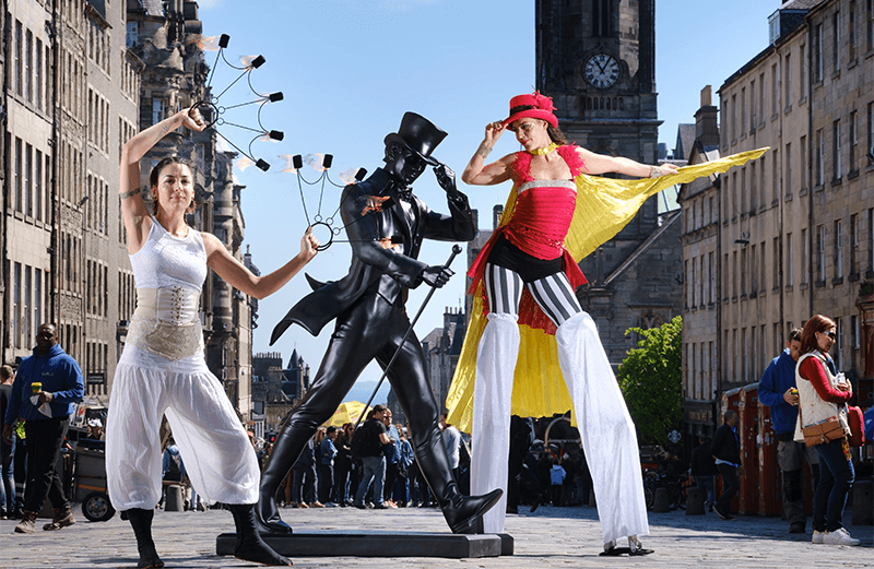 Street performers on the Royal Mile