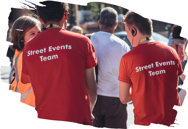Street events staff in red