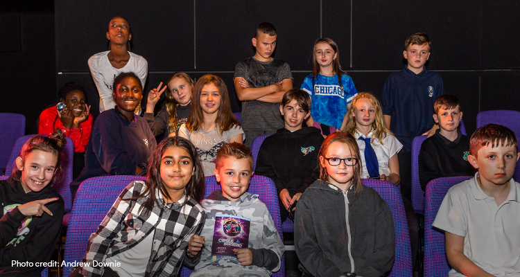 Group of young Fringe goers in the audience of a 2018 Fringe show